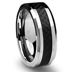 8MM Men's Titanium Ring Wedding Band Black Carbon Fiber Inlay and Beveled Edges