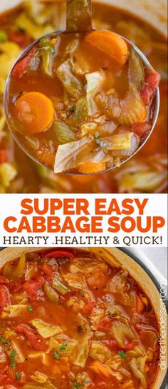 Cabbage Soup is the PERFECT savory vegetable soup made with cabbage tomato carrots celery and spices ready in under 45 minutes! Cabbage Soup is the PERFECT savory vegetable soup made with cabbage tomato carrots celery and spices ready in under 45 minutes! Easy Cabbage Soup, Cabbage Soup Recipes, Healthy Soup Recipes, Vegetarian Recipes, Cooking Recipes, Cabbage Rice, Keto Recipes, Cabbage Fat Burning Soup, Recipes