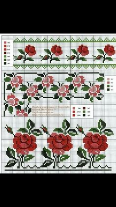 Handicrafts: Roses for embroidery cross stitch / Cross stitch roses Cute Cross Stitch, Cross Stitch Rose, Cross Stitch Borders, Cross Stitch Alphabet, Cross Stitch Flowers, Cross Stitch Charts, Cross Stitch Designs, Cross Stitching, Cross Stitch Embroidery
