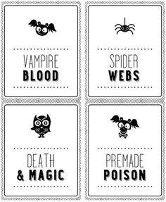 Halloween soda & wine bottle labels
