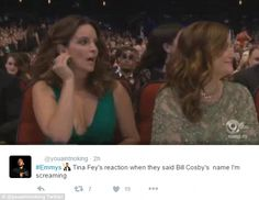 Oh no! Tina Fey had a jaw-dropping moment on Sunday when a poorly chosen joke was made about Bill Cosby at the 68th annual Emmy Awards
