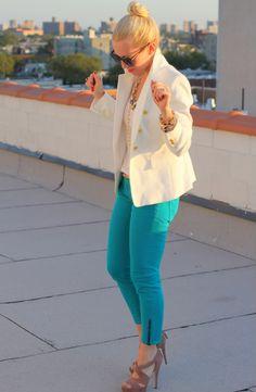 Zara Blazer, Rich & Skinny Jeans similar style, Miu Miu Shoes, Short Necklace via Bloomies, Longer Necklace:HRH Collection, Bracelets: c/o Alex & Ani, Forever21,KarenWalker Sunglasses. Lipstick: MAC Show Orchid. Nails: Essie Poof Daddy.