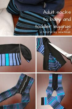 Sewing Clothes For Men The original 5 min baby and toddler leggings made from socks. Cut off toes, cut up foot sides to middle of heel, sew together, elastic waist. Sewing For Kids, Baby Sewing, Diy For Kids, Sewing Men, Sewing Tips, Sewing Ideas, Baby Clothes Patterns, Clothing Patterns, Babies Clothes
