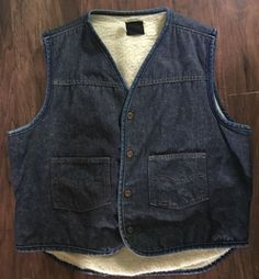 Vtg Men's Large Sears Roebucks Denim Vest Jacket Sherpa Lining #SearsRoebucks #Vest