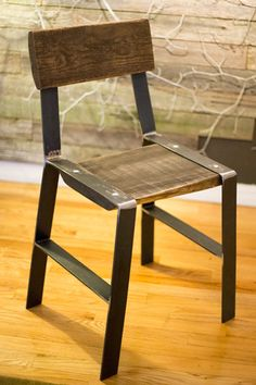 Made from reclaimed timber slabs, this rustic wood dining chair is perfect for contemporary and crossover spaces. Buy this simple wood and metal side chair today! Metal Dining Chairs, Side Chairs, Reclaimed Timber, Walnut Finish, Metal Furniture, Wood And Metal, Chair Design, Rustic Wood, Simple Designs