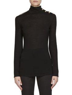 BALMAIN Button-Detail Wool Turtleneck Sweater. #balmain #cloth #sweater