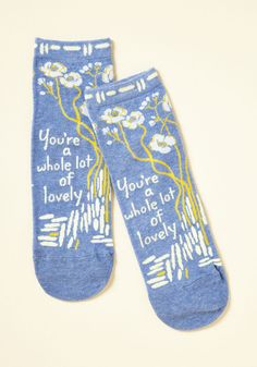 Compliment the World to Me Socks. Like any good pick-me-up, these blue socks will make you smile every time you put them on! #blue #modcloth