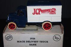 ERTL Die-Cast Metal 1926 JCPenny's 1926 Mack Delivery Truck Bank Locking w/ Key