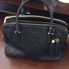 8b42d008a57 Tory Burch Thea triple zip black leather satchel Tory Burch Thea triple zip black  leather satchel