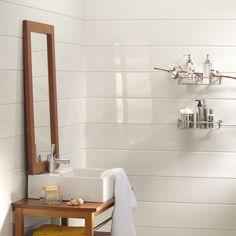 lambris blanc derrière vasque