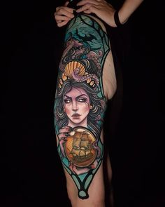 Neo-traditional sea witch tattoo by Rocio Todisco, done in Johannesburg at the Black Lodge Witch Tattoo, Sea Witch, Neo Traditional, Body Tattoos, Photo And Video, Portrait Tattoos, South Africa, Instagram, Artists
