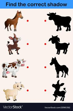 Find correct shadow farm animals collection vector image on VectorStock Animal Activities, Preschool Learning Activities, Preschool Lessons, Preschool Worksheets, Preschool Activities, Kids Learning Activities, Emotions Preschool, Numbers Preschool, Community Helpers Preschool