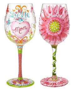 3f8227cf16db Amazon.com  Lolita Hand Painted Wine Glass - I Love You Mom And Mom In  Bloom Bundle  Kitchen   Dining
