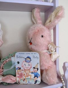 SaturdayFinds -Vintage Inspired Gifts, Timeless Treasures and More! Handcrafted Originals and Exceptional Estate Sale Finds are my passions. Vintage Baby Toys, Vintage Nursery, Vintage Easter, Vintage Pink, Hunny Bunny, Bunny And Bear, Somebunny Loves You, Bunny Toys, Vintage Birthday