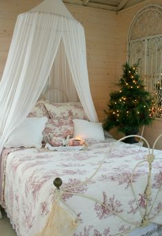 Christmas Welcome Friends.  (Love the battery operated candle on the bed)