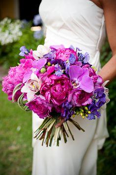 purple and pink wedding flowers