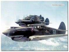 """PICTURES FROM HISTORY: Rare Images Of War, History , WW2, Nazi Germany: Americans In India And China During WW2: Squadron """"Hell's Angels"""" of the air group """"Flying Tigers"""" in flight. May 28, 1942. 3rd Squadron Hell's Angels, Flying Tigers over China, photographed  by AVG pilot Robert T. Smith."""