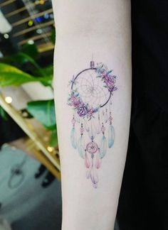 Dream Catcher Tattoo On Arm Pleasing Small Rose Dreamcatcher Tattoo On Arm  Pinterest  Dreamcatcher 2018