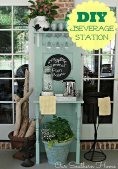 DIY Beverage Center via Our Southern Home made with an upcycled thrift store door