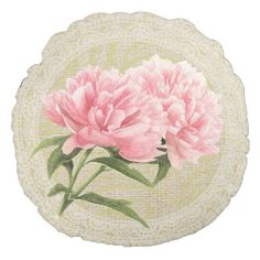Pink peonies & lace floral vintage pillow round pillow