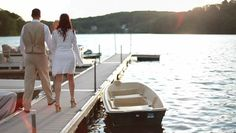 bride & groom on the dock