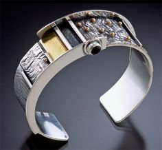 14k gold and reticulated silver cuff with gemstones by Michele LeVett