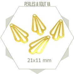 8 breloques pétales rétros dorées mat