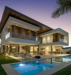 Home Luxury Exterior Modern Ideas Best Modern House Design, Modern Villa Design, Dream Home Design, Modern Architecture House, Architecture Design, Modern House Facades, Luxury Homes Dream Houses, Modern Mansion, Dream House Exterior