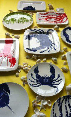 Large square navy blue ceramic crab serving by jessicahoward, $120.00