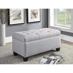 Furniture of America Rina Transitional Storage Bench in Gray Round Tufted Ottoman, Upholstered Ottoman, Upholstered Storage Bench, Bench With Storage, Tufting Buttons, Living Spaces, Upholstery, Furniture, Gray