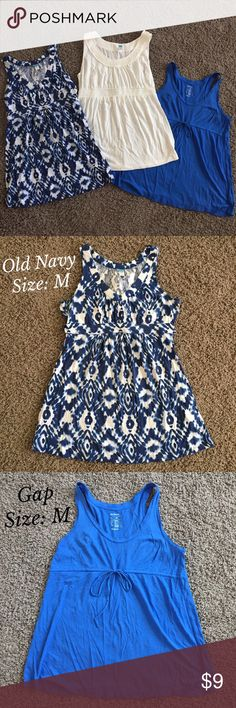 Maternity Tank Bundle (Old Navy & Gap) These maternity tanks are in great condition with minimal wear. They are all longer than your average tank tops. Perfect for the woman who wears a M/L. Comes from a smoke-free, pet-free home. Ready to ship! Old Navy Tops Tank Tops
