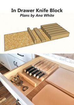 Kitchen Tutorials In Drawer Knife Block Diy Knife Storage, Diy Storage, Drawer Storage, Kitchen Drawer Organization, Kitchen Drawers, Cuisines Diy, Diy Rangement, Cabinet Plans, Diy Drawers