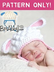 Sweet little lamb hat makes the perfect photo prop or costume. Find the cochet pattern here www.briabby.com