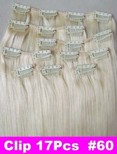 """20"""" Remy Human Hair Extensions Clips In Extensions 8Pcs 100g #60 Platinum Blonde"""