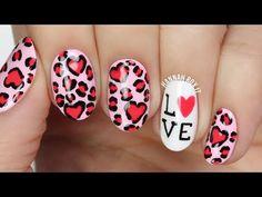 Valentine's Leopard Heart Love Nail Art - YouTube