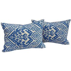 Blue & White Ikat Pillows, Pair (2,600 CNY) found on Polyvore