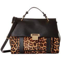 Ivanka Trump Turnberry Satchel (Natural Leopard Haircalf) Satchel... ($255) ❤ liked on Polyvore featuring bags, handbags, animal print, strap purse, handbag satchel, calf hair purse, haircalf handbags and flap purse