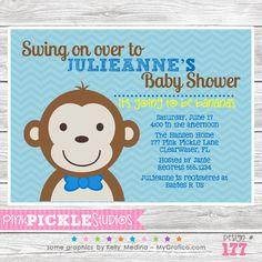 Boy Monkey Baby Shower Personalized Party Invitation-