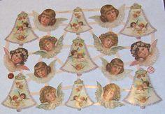 New German Victorian Christmas angels cherubs bells diecuts scrap sheet ef 7316 card making scrap booking collage decoupage ornaments craft