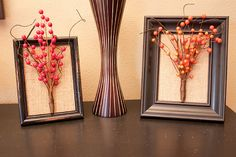 Frames with dried berries (or flowers...)