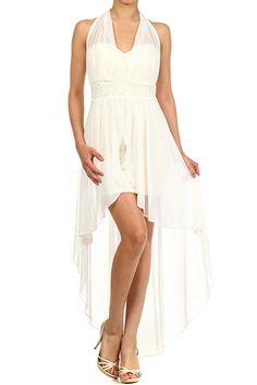 Sleeveless Hi-lo Halter Dress With Duo Fabric Layered