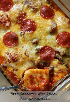 Pizza casserole with ravioli is a recipe your family will love! Full of cheese and pizza favorites, this meal with satisfy your pickiest of eaters!