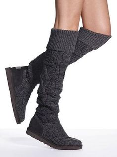 Grey knit boot -- wonder how these would stay up