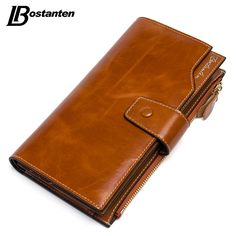 BOSTANTEN Vintage Genuine Cowhide Oil Wax Leather Women Long Wallets Purse Brand Wallet Women Card Holder Phone Clutch Wallets -  http://mixre.com/bostanten-vintage-genuine-cowhide-oil-wax-leather-women-long-wallets-purse-brand-wallet-women-card-holder-phone-clutch-wallets/  #Wallets