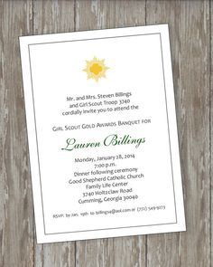 Girl Scout Gold Award Invitations 4 by ItsAllAboutTheCards on Etsy, $15.00