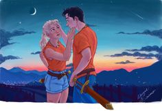 """~ After the Monsters are Slain ~ """"percy and Annabeth percabeth Percy Jackson Annabeth Chase, Percy Jackson Fan Art, Percy And Annabeth, Percy Jackson Books, Percy Jackson Fandom, Tio Rick, Uncle Rick, Magnus Chase, Daughter Of Poseidon"""