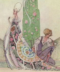 """Here we show a portion of a design by Kay Nielsen from his suite prepared for """"In Powder and Crinoline"""" (1913)."""