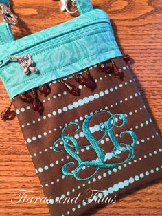 Monogrammed Small Crossbody Bag, Brown and Teal, Hip Bag, Zippered Bag, Phone Case, Camera Bag, Vacation Purse, Song of Solomon 4:7 by elainestiarasntutus on Etsy
