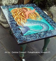 Hand painted by artist Debbie Criswell, folkartmama, mermaid table. keywords - painted , furniture, table, tropical, beach, decor, fantasy,