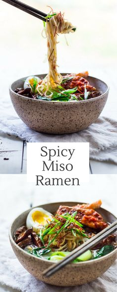 Spicy Miso Ramen with bok choy, shiitakes and your choice of chili roasted salmon or tofu. A healthy flavorful 20 minute dinner. GF and vegan adaptable! | www.feastingathome.com